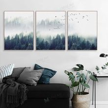 Scandinavian Forest Mountain Birds Landscape Poster Prints Nordic Style Living Room Wall Art Pictures Home Decor Canvas Painting