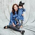 Crianças outono 2016 Coréia crianças pai-filho carregado cueca pequena virgem Coreano crianças denim camisa longa