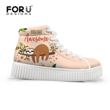 super popular b82c0 bb856 FORUDESIGNS Height Increasing High Top Women Autumn Flats Shoes Cute Cartoon  Sloth Print Woman Platform Shoes