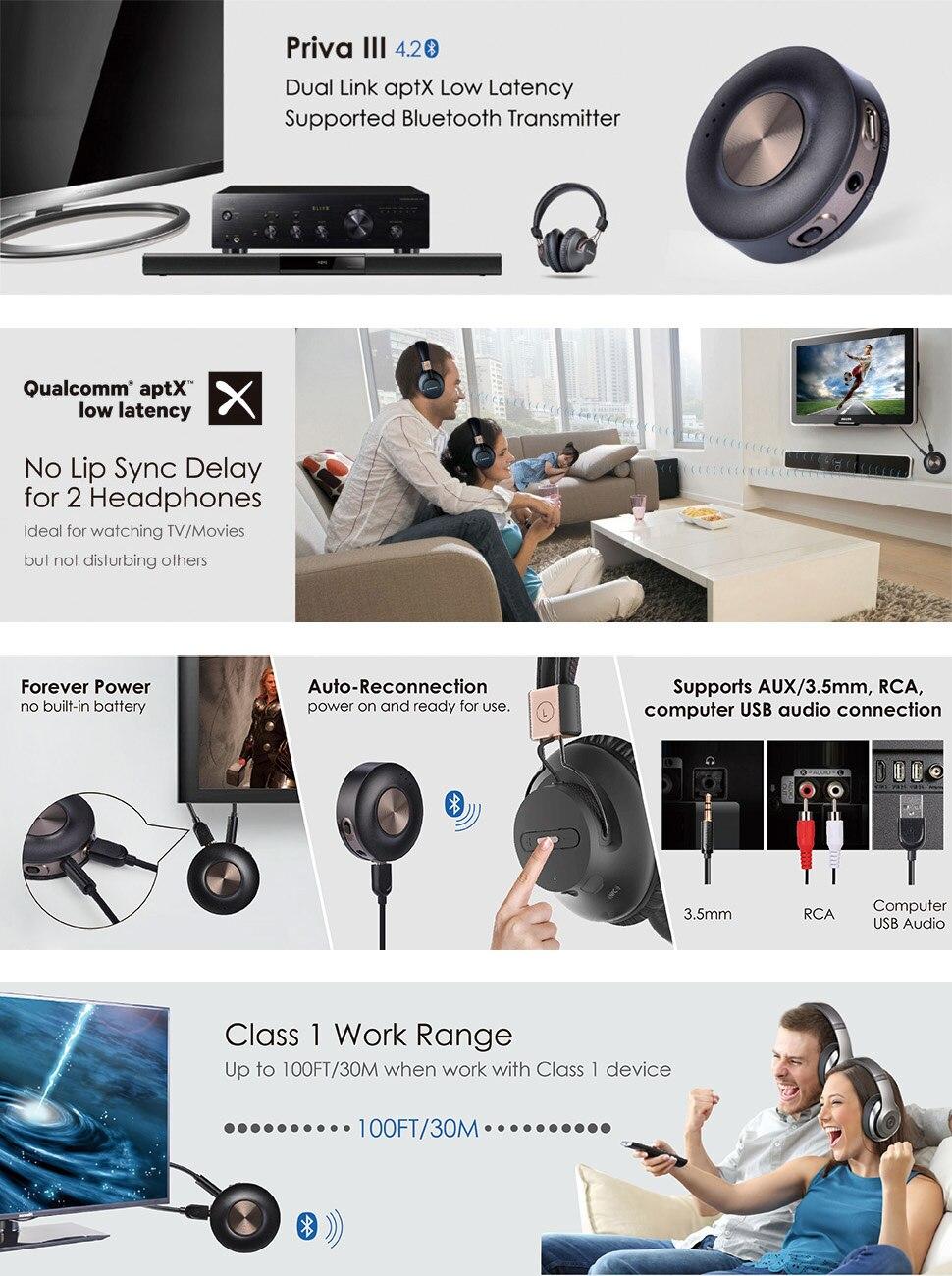 Avantree AptX LL Bluetooth 4 2 Transmitter for TV PC (3 5mm, RCA, Computer  USB digital audio) Dual Link Wireless Audio Adapter