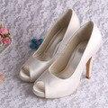(20 Cores) Wedopus Elegante Branco Marfim Sapatos De Noiva Peep Toe 10 CM Tamanho Grande