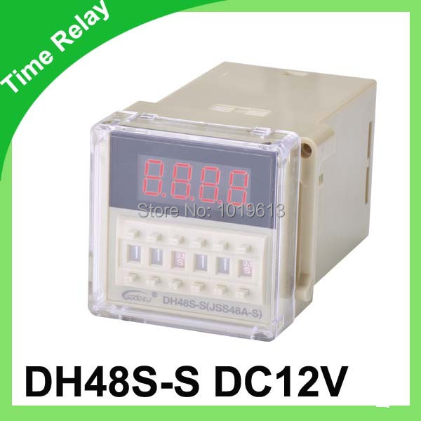 Digital time delay repeat cycle relay timer 1s-99h LED display 8 pin panel installed DH48S-S SPDT DC12V 1pc multifunction self lock relay dc 12v plc cycle timer module delay time relay