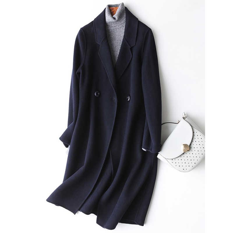 2019 Otoño Invierno Chaquetas Mujer pura Cachemira hecha a mano 100% color sólido lana Abrigos Mujer Cachemira trenchcoat largo abrigo