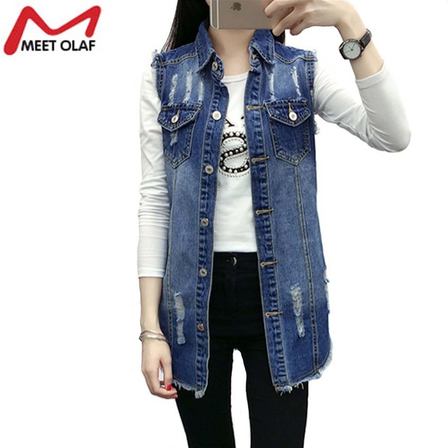 Denim Vest Women Autumn Hole Sleevelesses Coat Frayed Long Waistcoat Jacket Colete Jean Feminino Chalecos Mujer YL793