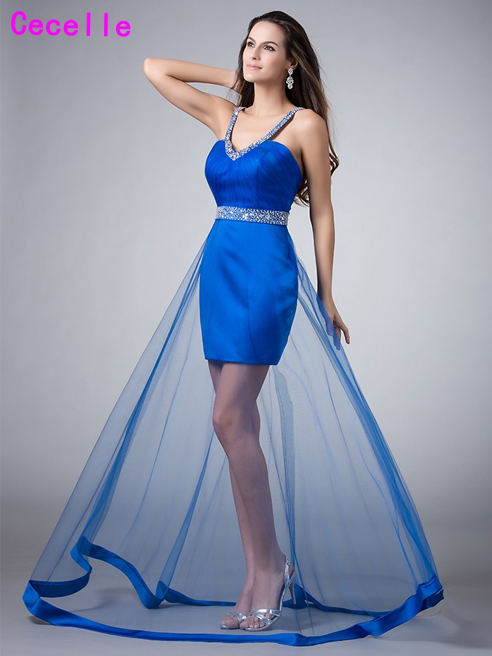 New Real Photos Royal Blue High Low Short Teens   Cocktail     Dresses   V Neck Beaded Low Back Sheer Skirt Girls   Cocktail   Party   Dress