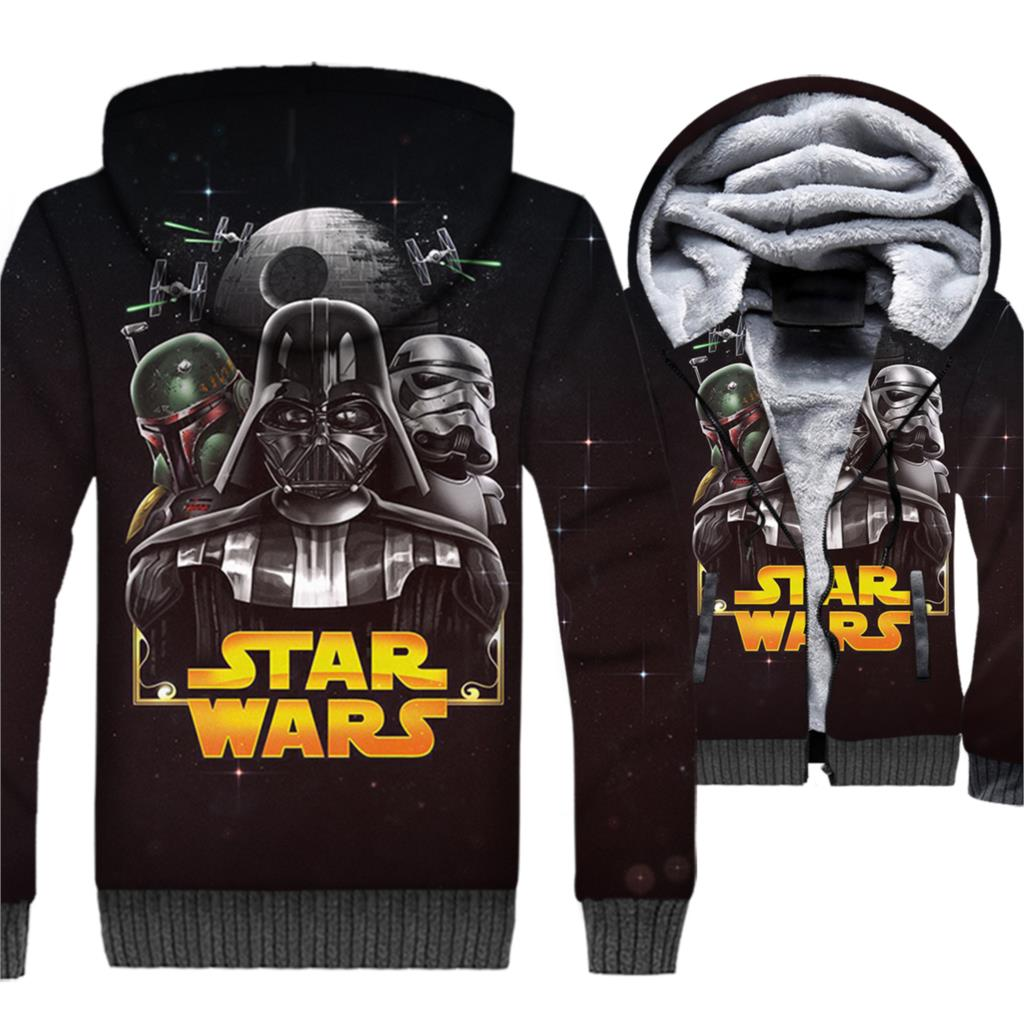 Star Wars Jacket Men 3D Hoodies Two World Sweatshirts 2018 Winter Thick Fleece Warm Zipper Coat StarWars Movie Black Streetwear