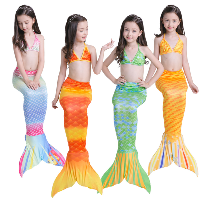 3Y-9Y Girls Swimming Mermaid Tail Cosplay for Girls kids Fancy Dress Swim Bikini Set Costume Bathing siwmmable Suit 3PCS/SET