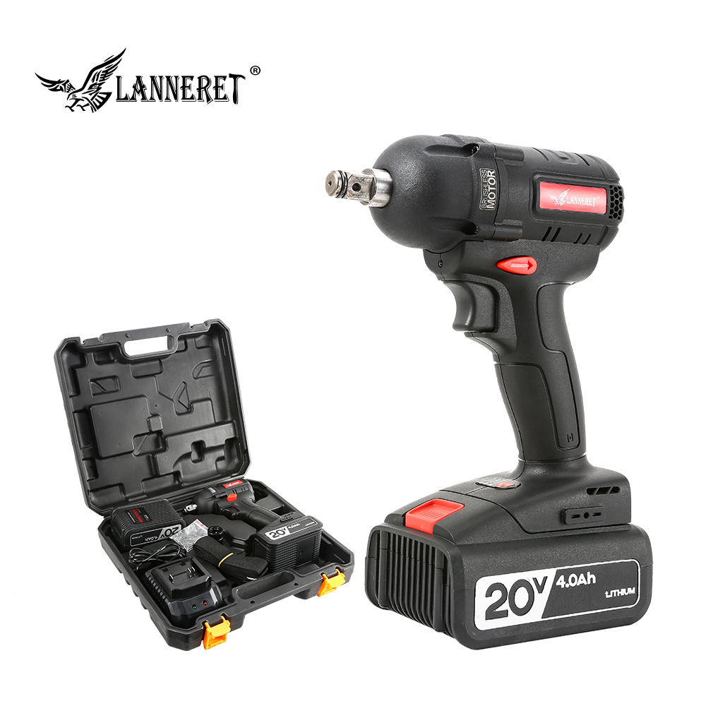 LANNERET 20V Li ion Brushless/Cordless Impact Wrench 4.0Ah 1/2Inch Household Car Type Wheel Rechargeable Wireless Power Tools