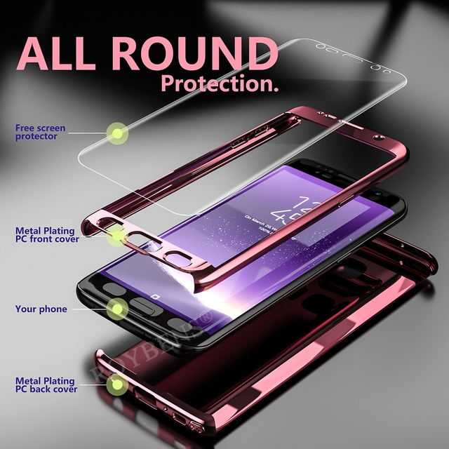 Roybens For Galaxy Note 8 Case Luxury Mirror 360 Ultra Thin Full Protection Case For Samsung Galaxy S8 Plus S7 Edge S9 S9+ Cover 3
