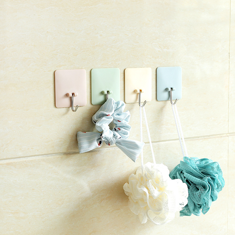 Square Plain Solid Color Wall Hanger Hook Strongly Adhesive Sticks Wall Bathroom Kitchen Nail-free Glue Organizer Hooks