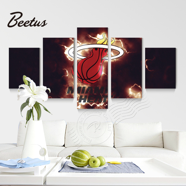 5 Panel Wall Art Miami Heat Sport Logo Basketball Poster Modern Paintings Abstract For