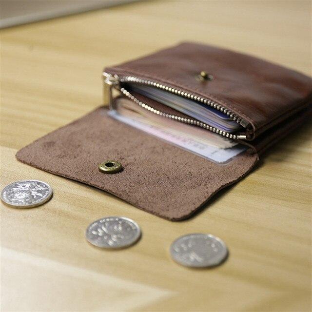 28c281b10eb3 Señoras de Cuero Genuino Pequeño Monedero Bolso de La Moneda Para Mujer  Carteras y Monederos de ...