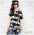 Inglés Carta camisetas Transpirable Soft Loose Tee Shirt versión Larga de Las Mujeres Delgadas de La Camiseta XXXXL Coreano Inglés Letra T camisas