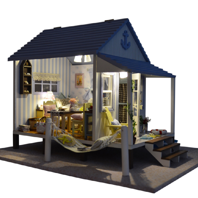 Diy Miniature Wooden Doll House Furniture Kits Toys Handmade Craft Miniature Model Kit DollHouse Toys Gift For Children A017 cute room diy doll house miniature wooden dollhouse miniaturas furniture toy house doll toys for christmas and birthday gift k13