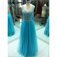Sexy Open Back Prom Dresses 2018 A Line V Neck Beaded Crystal Floor Length Tulle Blue Women Formal Long Evening Party Gowns