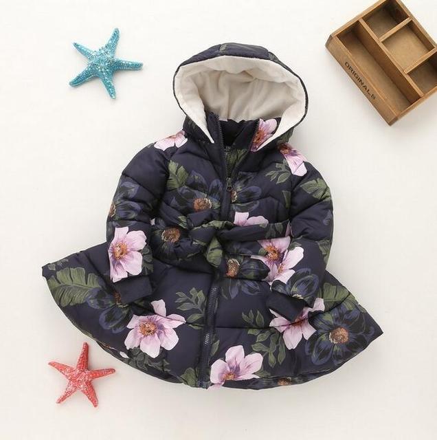 Winter Girls Hooded Jacket Printed Flowers Zipper Winter Coat For Girls Kids Padded Jacket Children's Winter outwear NJ08