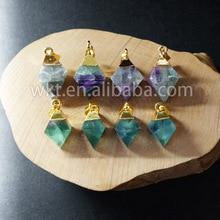 WT P650 Wholesale amazing natural rainbow fluorite pendant fashion multicolor flurorite point pendant