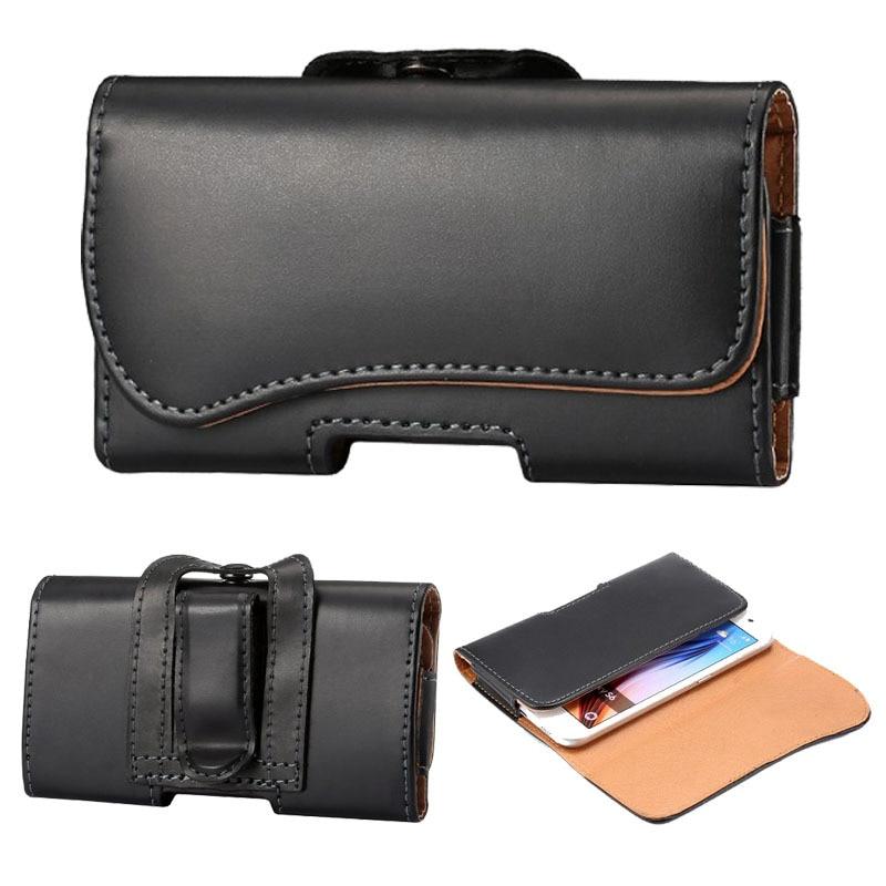 Černá kožená pouzdro na opasek pro iPhone 6 5s Samsung Galaxy S6 - Příslušenství a náhradní díly pro mobilní telefony