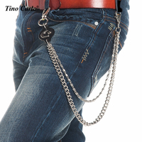 Mens Heavy Silver Metal Biker Trucker Wallet Chain Moon Star Leather Waist Key Chain 2 Strands