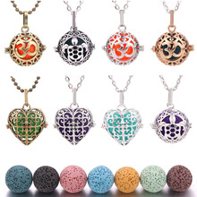 Fine Jewelry Lava Diffuser Necklaces for Pregnancy Stone Balls Bola Cage Pendants Baby Chime Hollow Out Metal Chain Necklaces