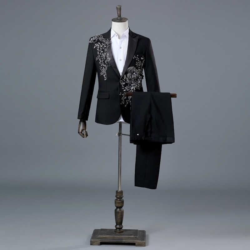 (ジャケット + パンツ) 新しい男性スーツセットスパンコールジャケットダイヤモンドブレザーホストステージ着用衣装チーム歌手ショーパフォーマンス正装