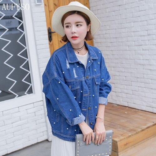 AUFYSO Jeans Jacket Women 2017 Primavera Corea Lolita Perla Abalorios Agujero De