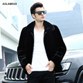 Aolamegs реальная шерсть шуба мужчины подлинных природных норки воротник мода черный шерсть мех куртки и пиджаки зима военные пальто L-4XL