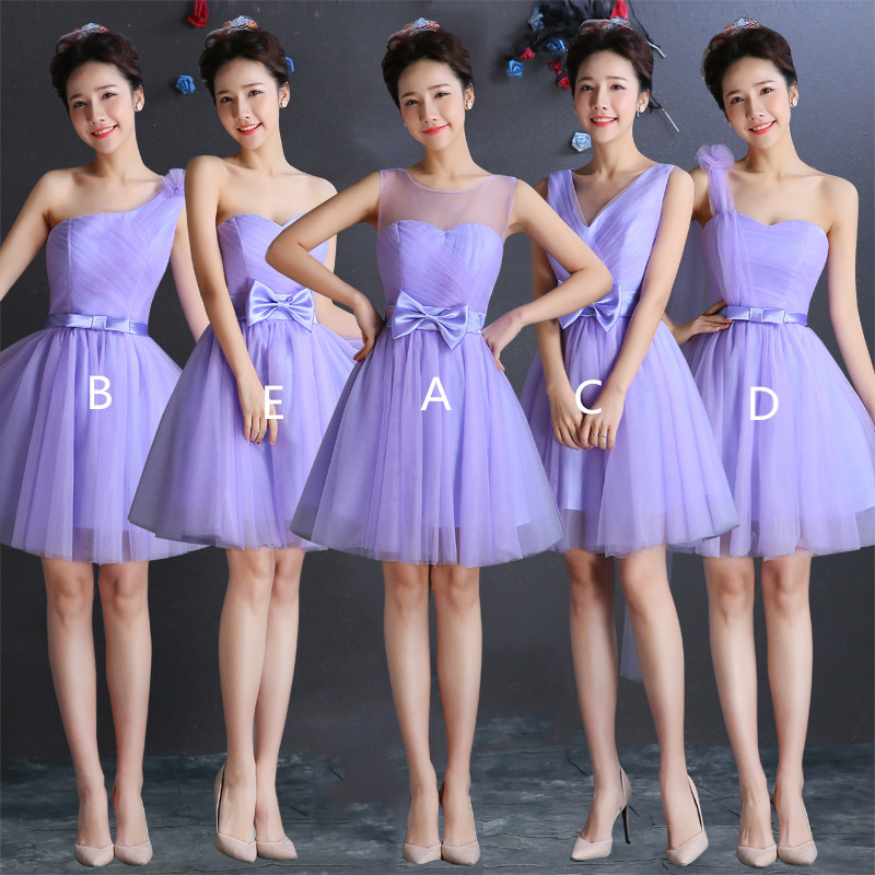 Holievery Lavender Tulle Short   Bridesmaid     Dresses   2019 Beach Knee Length Wedding Party   Dress   Lace Up Maid of honor Gowns