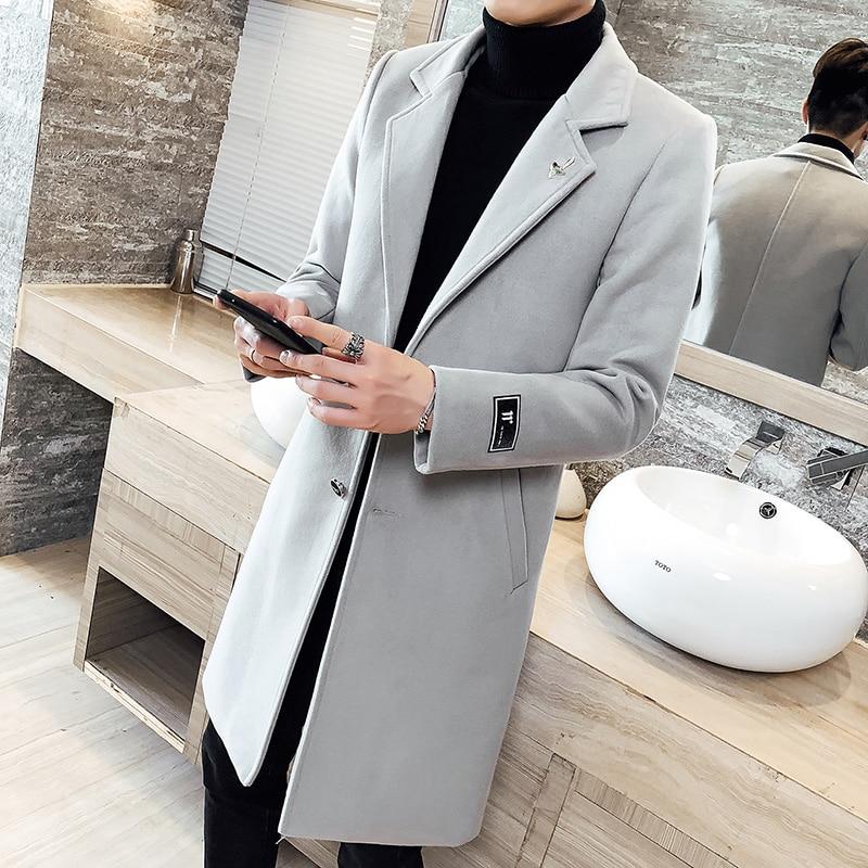 5XL Grey Long Winter Coat Mans Fasion Long Wool Coat Mens Slim Fit Abrigos Para Hombre 2018 Burgundy Long   Trench   Coat Men Casual
