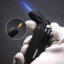 High Quality Metal Texture Fixed Double Flame Spray Gun Welding Torch Lighter Butane Gas Cigar Cigarette Gift Package