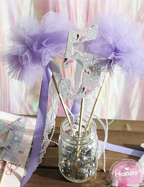 New Pastel Purple Fairy Wands Silver Ribbon Wedding Party