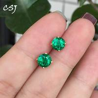 CSJ Solid 14K Lab Created Colombia Emerald CCE Earring Fine Jewelry For Women Lady Gift