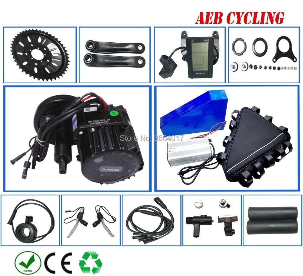 O envio gratuito de kits de BBSHD Bafang 48 V 1000 W do motor manivela mid com triângulo bateria de Iões de lítio de 48 V 30Ah para pneu gordura bicicleta