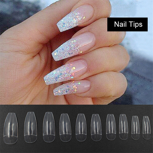 500PCS Long Ballerina Half Nail Tips Clear Coffin False Nails ABS ...