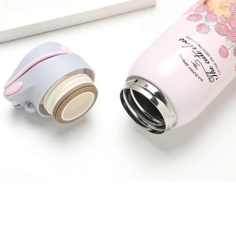 380/450 ml dupla parede esporte chá garrafa térmica de café garrafa de água quente 304 caneca de vácuo de aço inoxidável com palha copo isolado