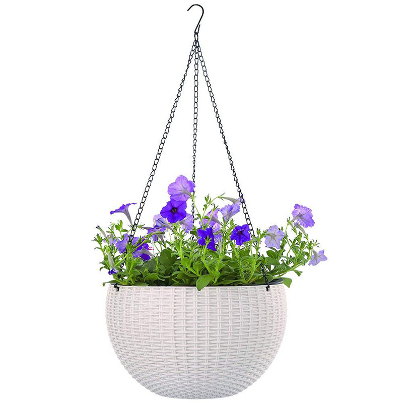 Plastic Hanging Baskets For Plants: Innovative Hanging Baskets Rattan Waven Round Plastic