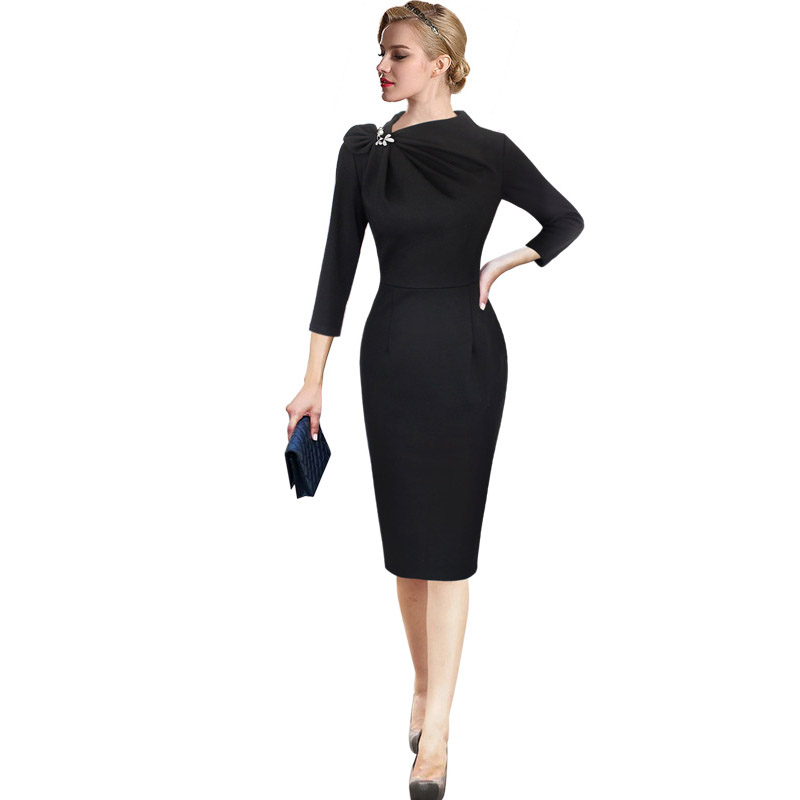 JENYAGE <font><b>Womens</b></font> <font><b>Elegant</b></font> Little <font><b>Black</b></font> <font><b>Dress</b></font> Party Summer 2020 Stretch Bodycon Vintage Work Office Knee Length Fitted <font><b>Formal</b></font> <font><b>Dress</b></font> image