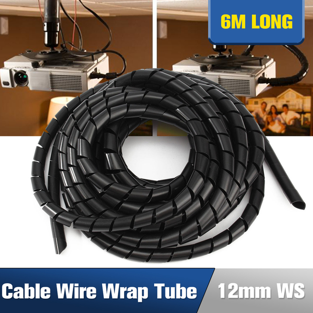 6.5M 12mm Flexible Black Cable Sleeve PE Polyethylene Spiral Cable ...