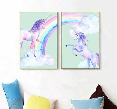 Colorful Unicorn Wall Art Canvas Cuadros Decoracion Salon Wall Pictures for Living Room Painting Unframed Poster Animal Print