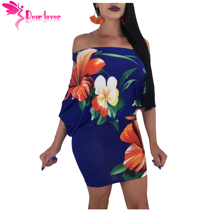 9d30e69fcaa Detail Feedback Questions about Dear Lover Sexy Off Shoulder Club Bodycon  Vestidos 3 4 Sleeve Batwing Sleeve Skew Neck Royal Blue Floral Ladies Dress  ...