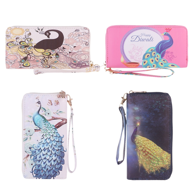 Women Peacock Clutch Long Leather Purse Wristlet Wallet Card Holder Handbag Phone Bag