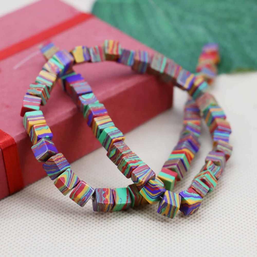 6 Mm Thời Trang Mới Cube Rainbow Thổ Nhĩ Kỳ Đá Rời DIY Hạt Trang Sức Đồ Thủ Công Làm Thiết Kế 15 Inch Bé Gái Quà Tặng Đá cho Vòng Tay