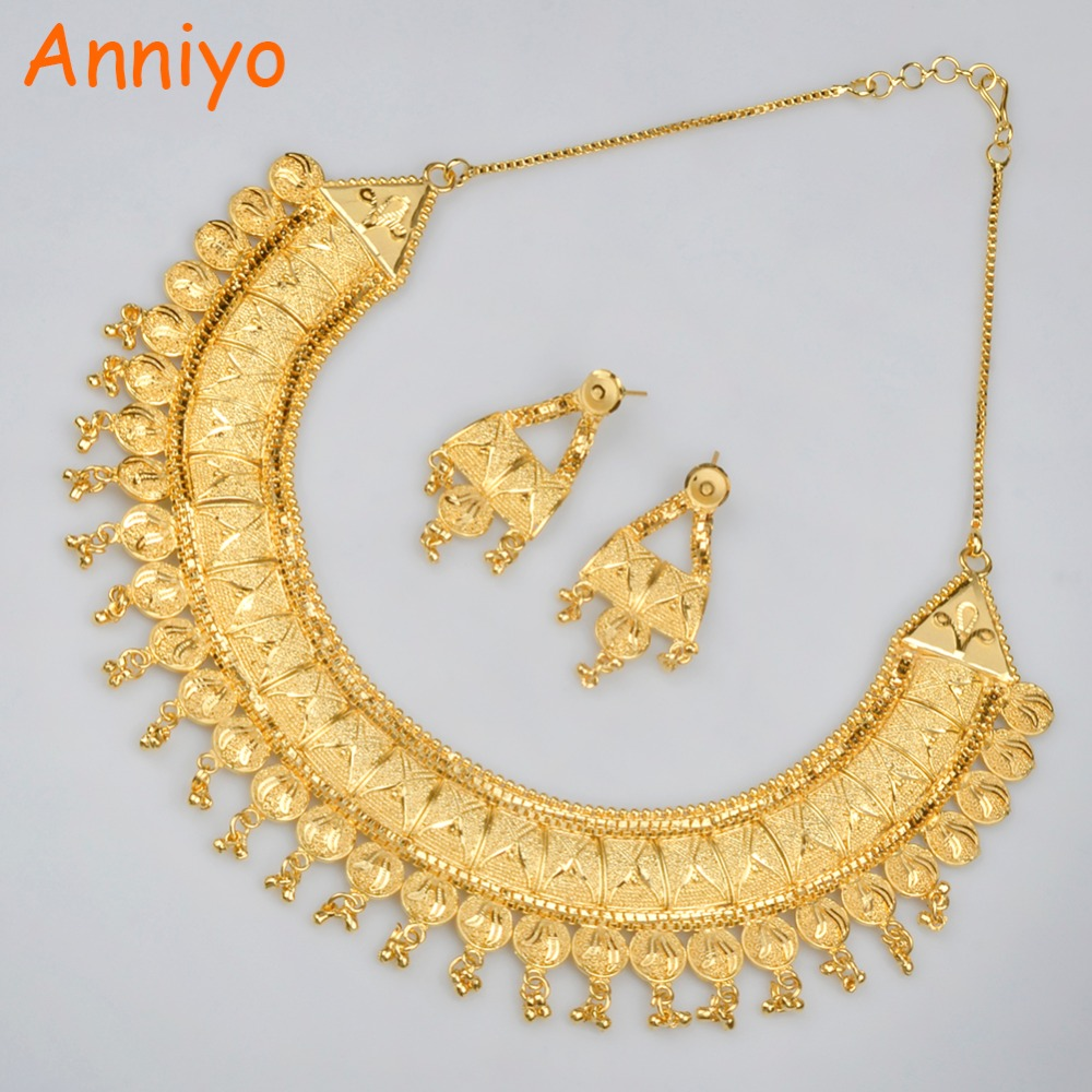 Anniyo Wedding Jewelry Sets For Brides Copper Gold Color Earrings & Necklace Set Eritrea/Sudan/Africa/Habesha Jewellery #015623