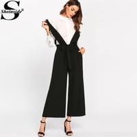Sheinside Casual Bow Tie Culotte Pants With Ruffle Strap Black Elastic Waist Pocket Loose Wide Leg Pants Women Elegant Pants