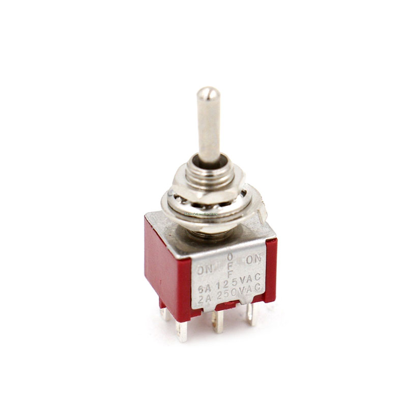 10Pcs Red 6 Pin 3 Position Momentary (ON)-OFF-(ON) Automatic return Toggle <font><b>Switch</b></font> AC 125V/6A 250V/3A image