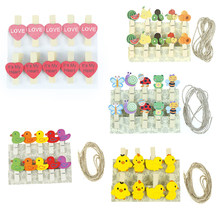8/10pcs/pack Cartoon Heart Fruit Animal Duck Wooden Clip Hemp Rope Photo Paper Craft For Album HOME Wedding Decoration(China)