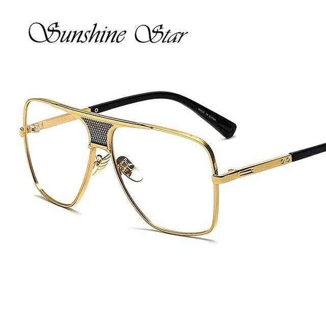 2adab5e72b Pop Age New Clear lens glasses Men Metal Oversized Square Frame Vintage  Spectacles Brand Designer Eyeglasses Oculos Gafas