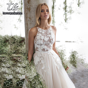 Image 1 - Spaghetti Straps Scoop Wedding Dress Sleeveless 3D Flower Lace Appliques Backless A Line Tulle Illusion Bridal Gown with Train