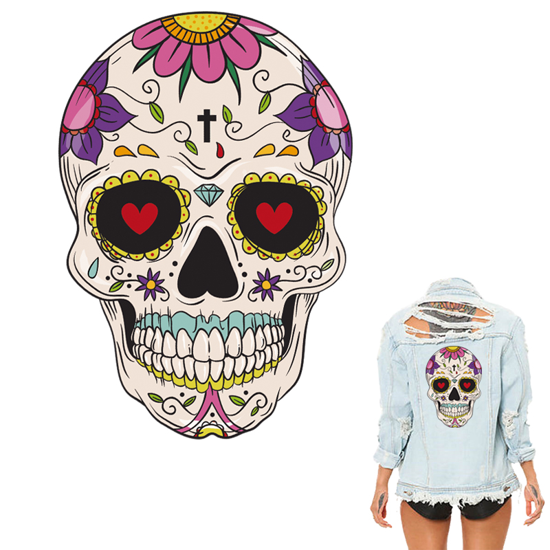 Colife Halloween Skull Patches For Clothing DIY Clothes Decoration Patch A-level Washable Heat Press Appliques