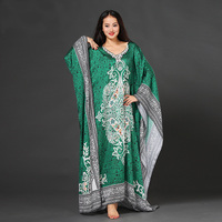 Ice Silk Long Sleeve Loose Belly Dance One Piece Dress Robe For Women Female Practice Dress